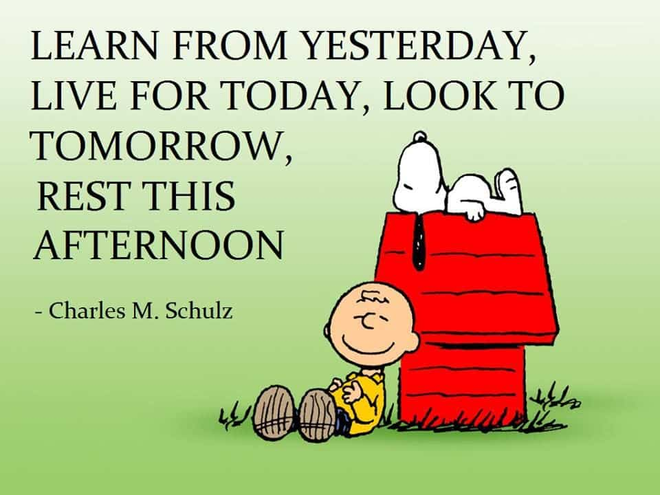 Learn from yesterday snoopy quote