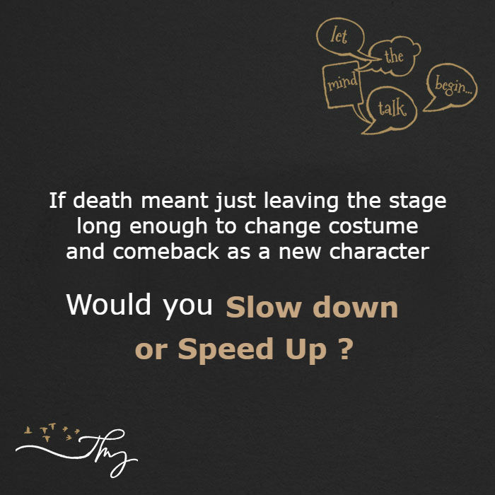 Would you slow down ? or Speed Up ?
