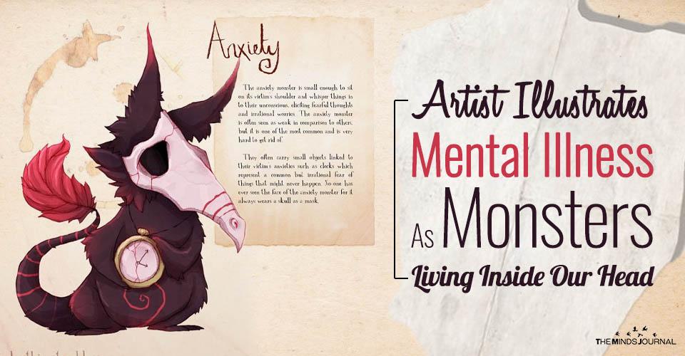 Artist Illustrates Mental Illness As Monsters Living Inside Our Head