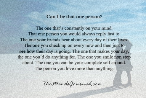 Can I be that One person ?