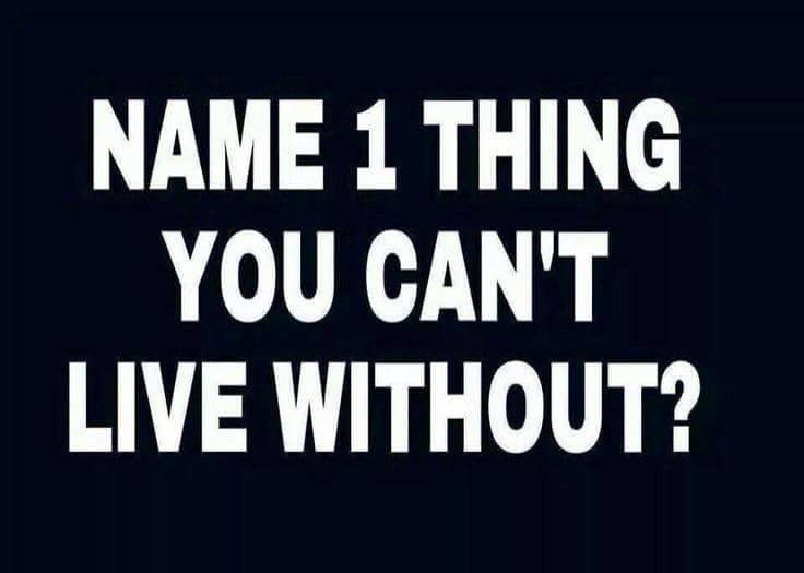 Name one thing you cannot live without