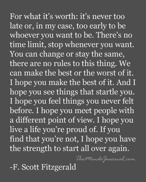 For what it's worth, it's never too late