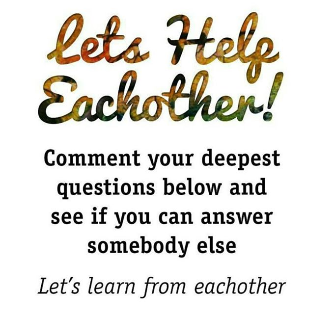 Let's help each other