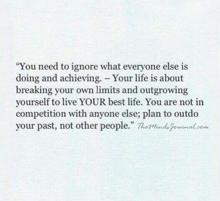 Plan to outdo your past, not other people
