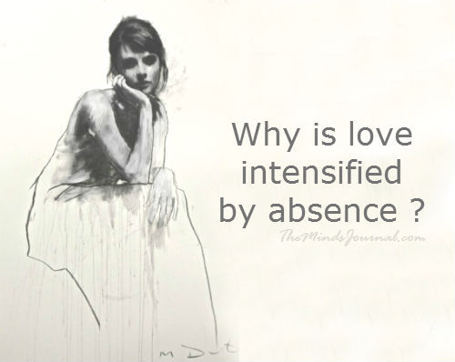 Why is Love intensified by absence ?