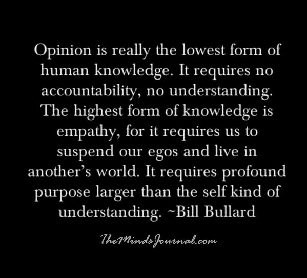Opinion is the lowest form of human knowledge