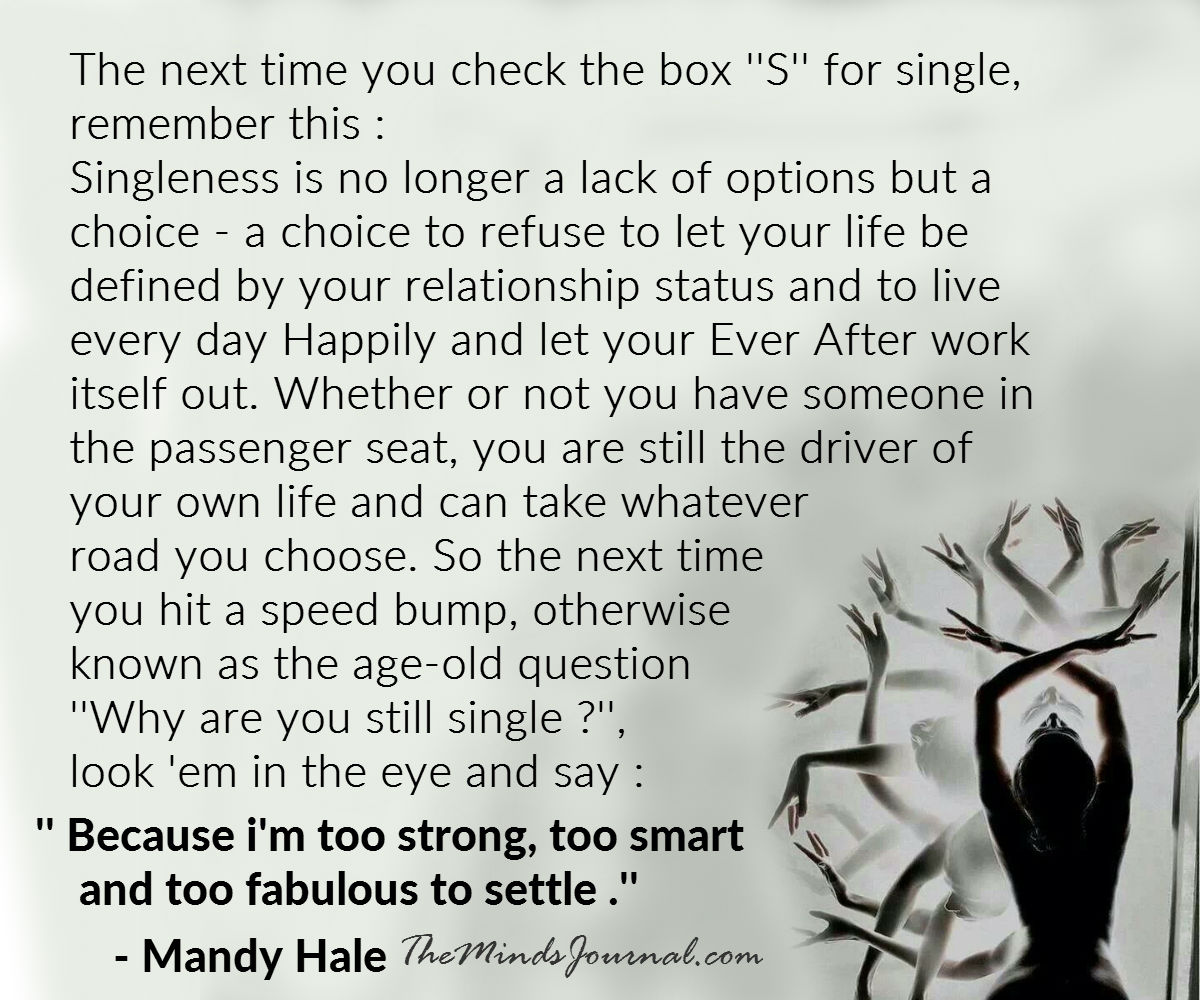 """The next time you check the box """"S"""" for single,  remember this :"""