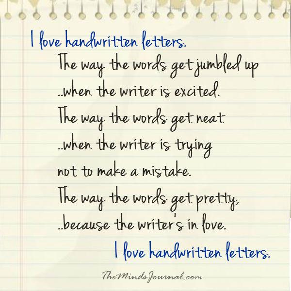I love handwritten letters