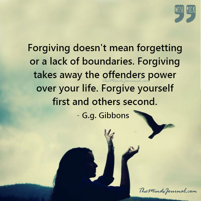 Forgiving yourself first, and others second