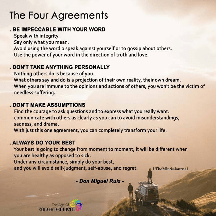 Transform Your Life With The Four Agreements The Minds Journal