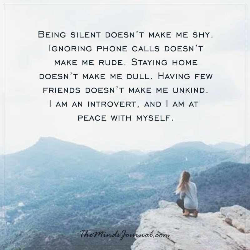 Being silent doesn't make me shy