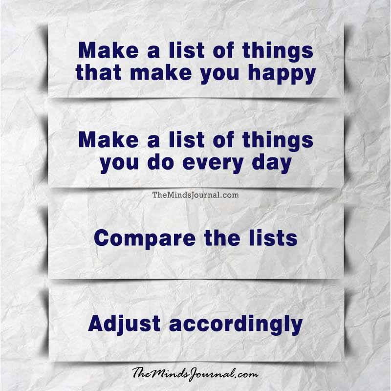 Make a list of things that make you happy