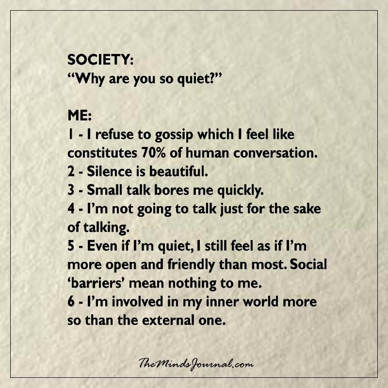"Society – ""Why are you so quiet"""