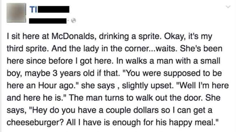 This Heart Warming Story about a Hungry Mom at McDonalds Will Restore Your Faith in Humanity