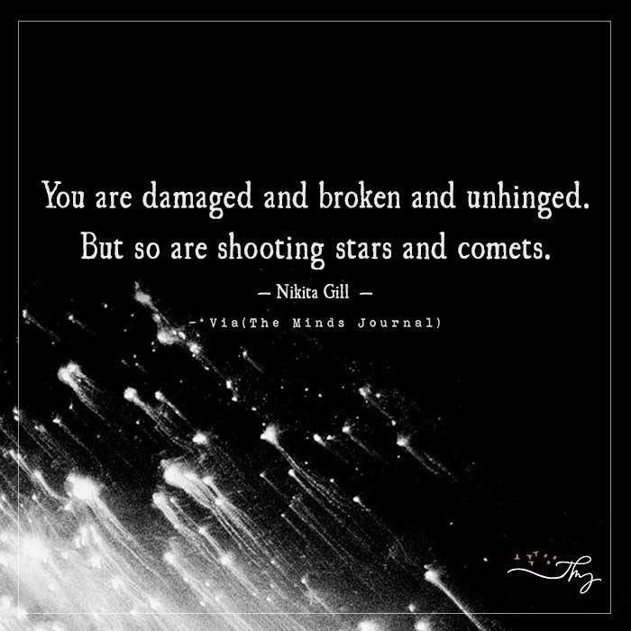 You are damaged and broken and unhinged.