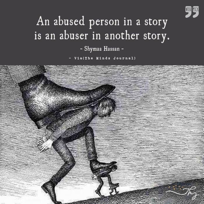 An abused person in a story