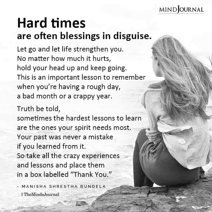Hard times are blessing in disguise