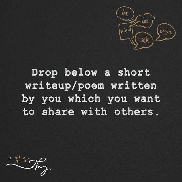 Drop below your writeup/poem