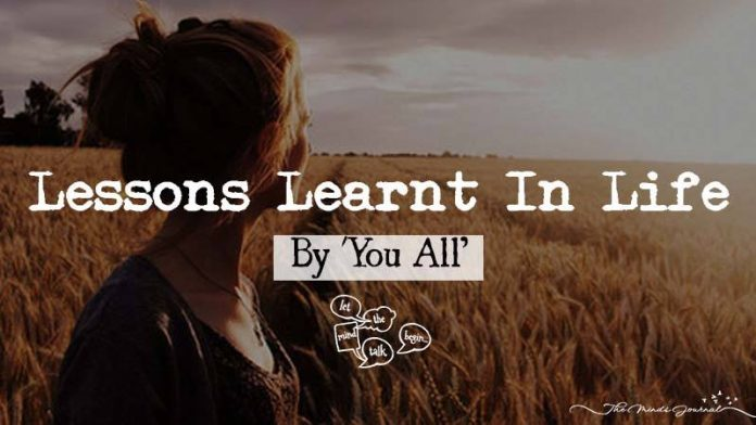 Lessons Learned In Life Let The Mind Talk Begin
