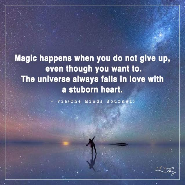 Magic happens when you do not give up