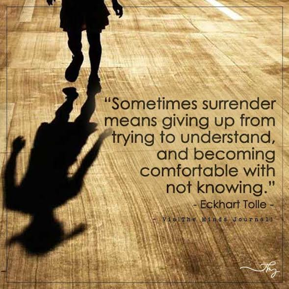 Sometimes surrender means giving up from trying to understand