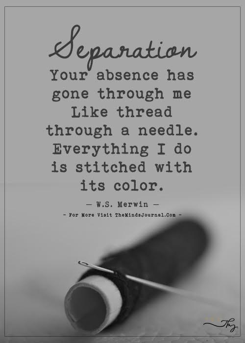 Separation your absence has gone through me like thread through a needle.
