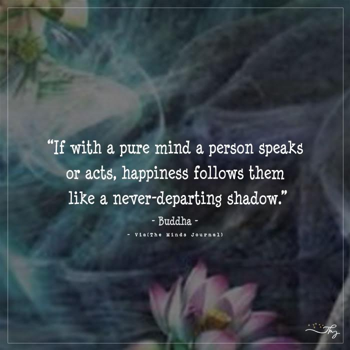 """""""If with a pure mind a person speaks or acts, happiness follows them like a never-departing shadow."""" – Buddha"""