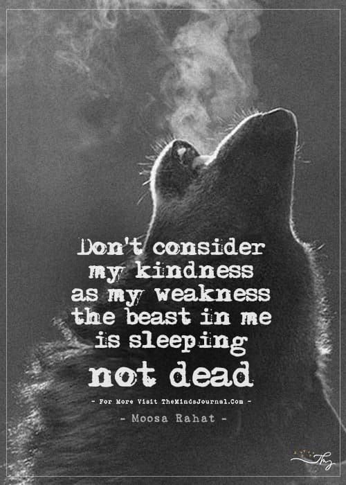Don't consider my kindness as my weakness…