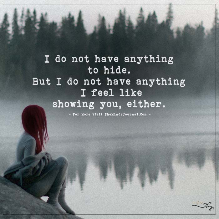 I Do Not Have Anything To Hide