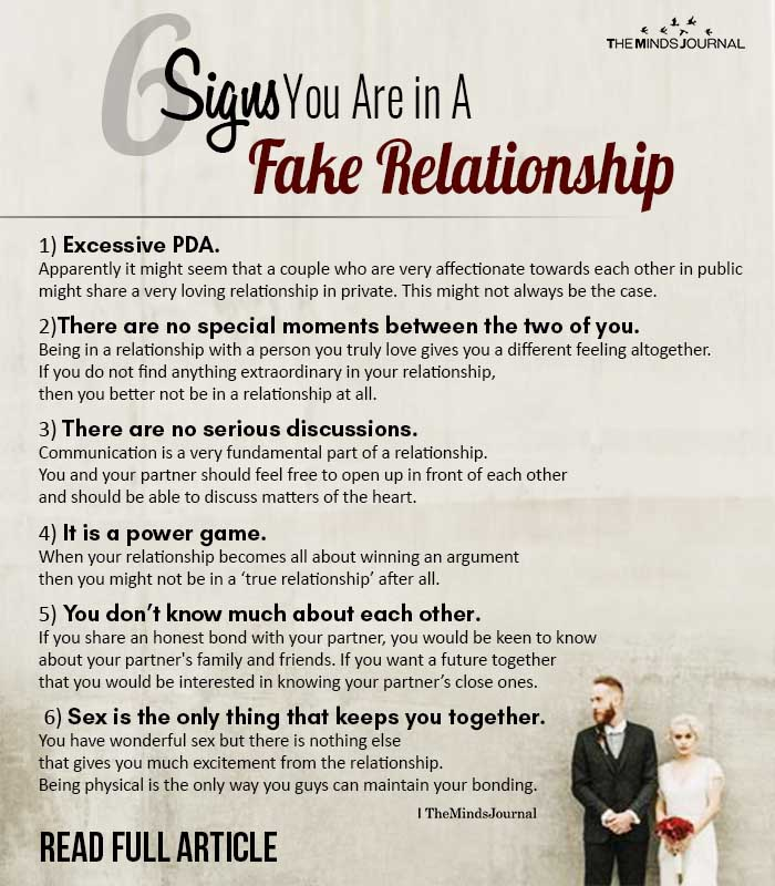 Signs You Are in A Fake Relationship