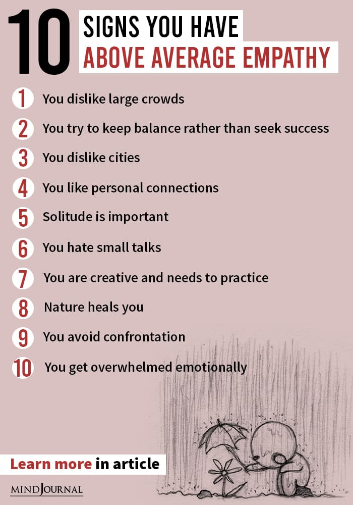 Signs Above Average Empathy infographic