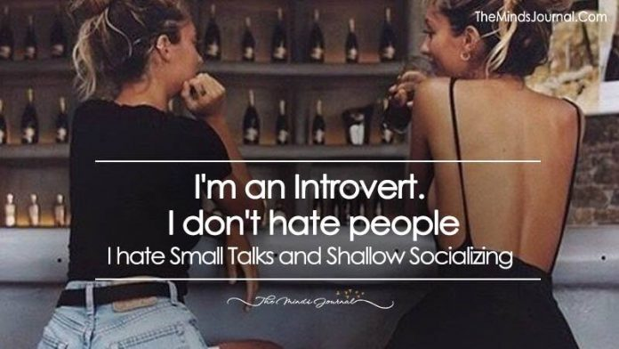 I'm an Introvert. I Don't Hate People. I Hate Small Talk and Shallow Socializing.