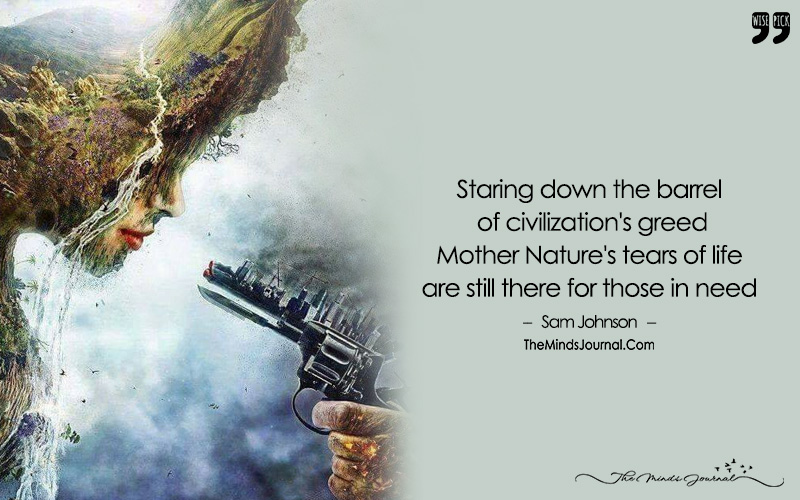 On the Name of Progress, She Kissed the Death, That's How Mother Nature, Accepted That Unnatural Fate.
