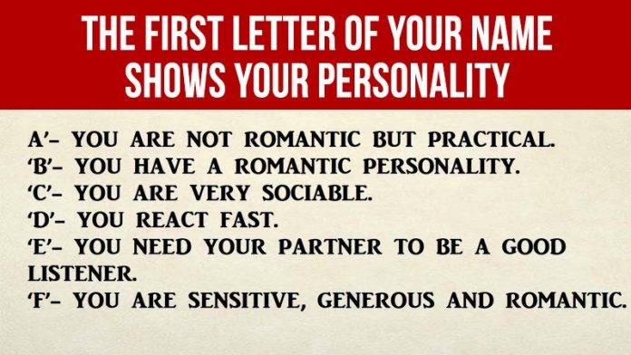 What Does The First Letter Of Your Name Says About Your Personality?