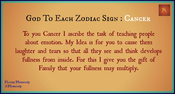god to each zodiac sign Cancer