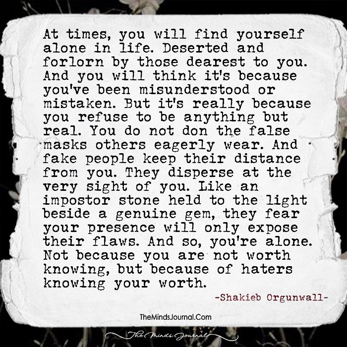 At Times You Will Find Yourself Alone In Life