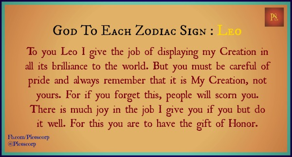 god to each zodiac sign Leo