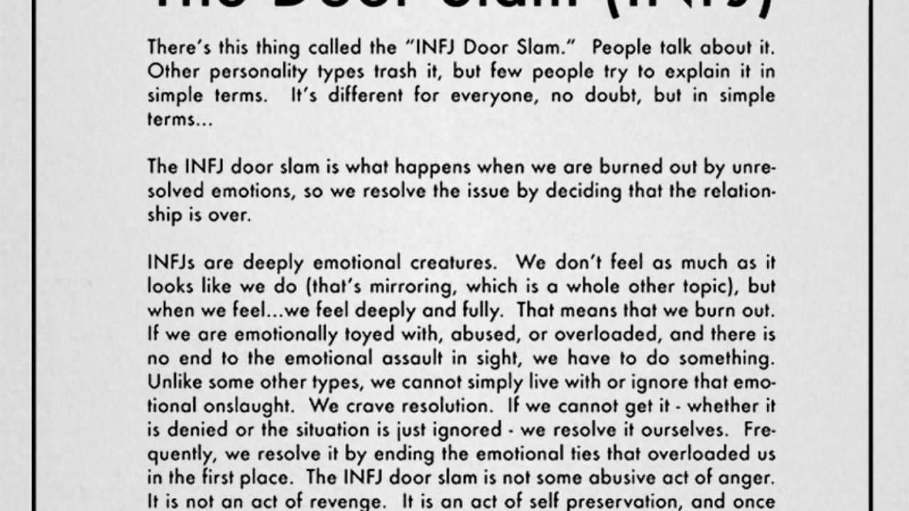 The door slam (INFJ)