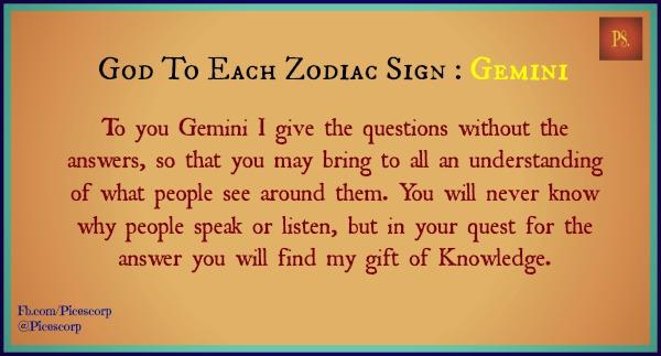 god to each zodiac sign Gemini