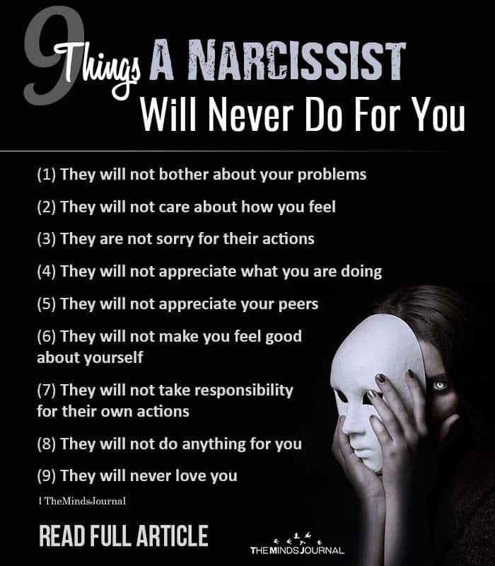 Things A Narcissist Will Never Do For You