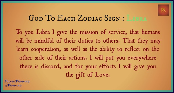 god to each zodiac sign Libra