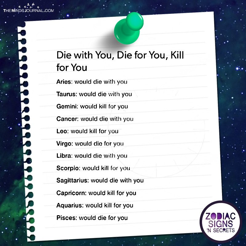 Die With You, Die For You, Kill For You