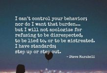 I can't control your behaviour