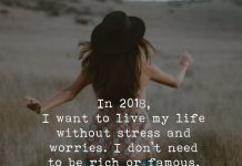 In 2018, I Want To Live My Life Without Stress