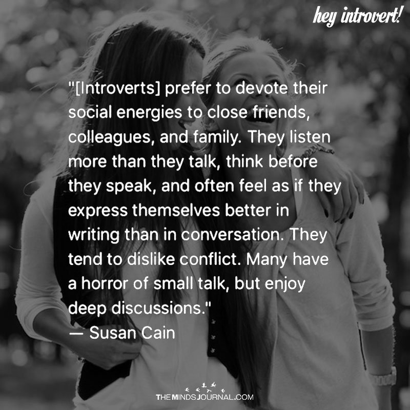 Introverts Prefer to Devote Their Social Energies To Close Friends, Colleagues, and Family