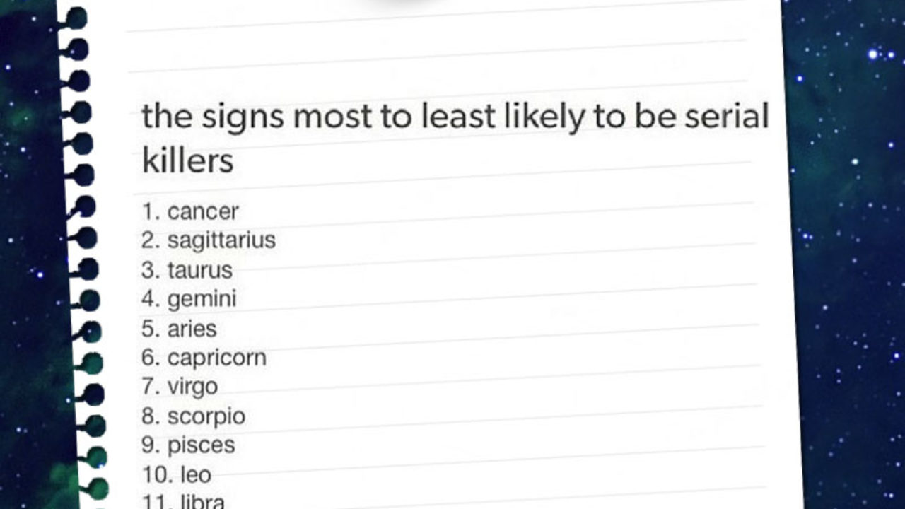 The Signs Most To Least Likely Yo Be Serial Killers