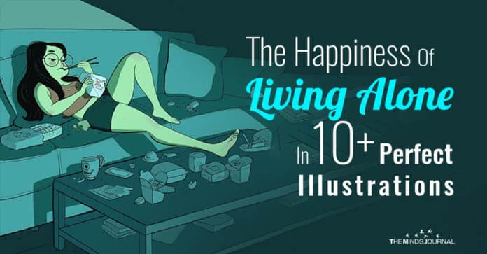 Happiness Of Living Alone Perfect Illustrations