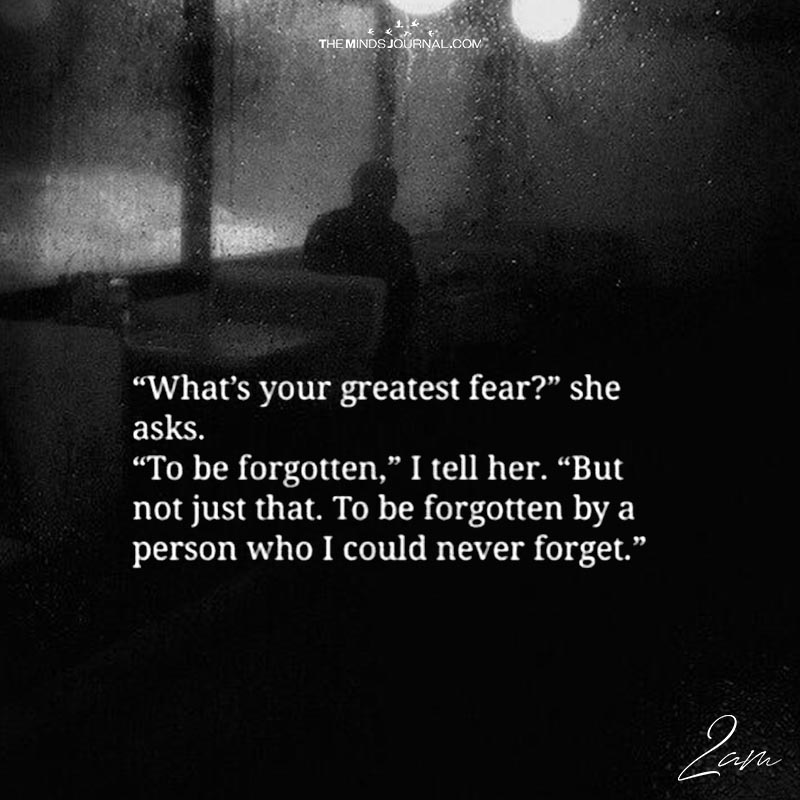 U201cWhatu0027s Your Greatest Fear?u201d She Asks.  What Is Your Greatest Fear