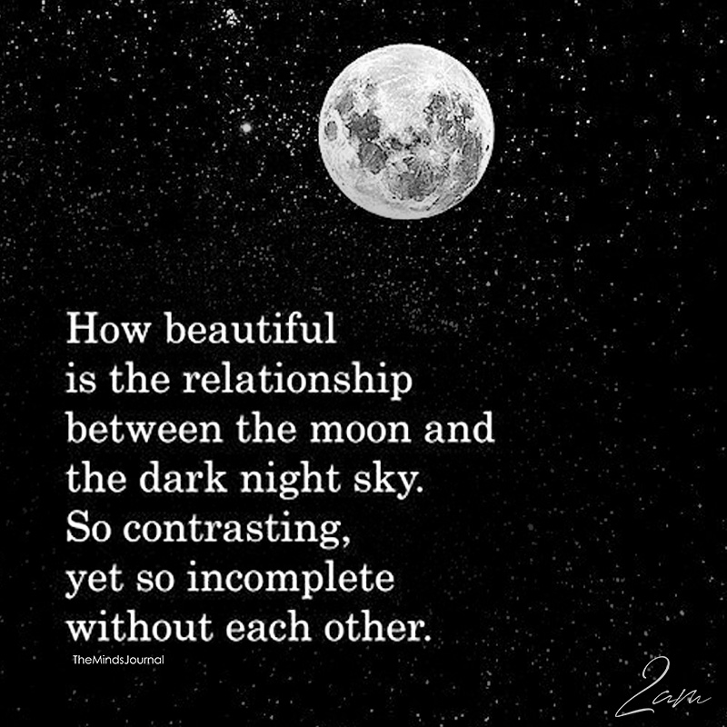 How Beautiful Is The Relationship Between The Moon And The Dark Night Sky
