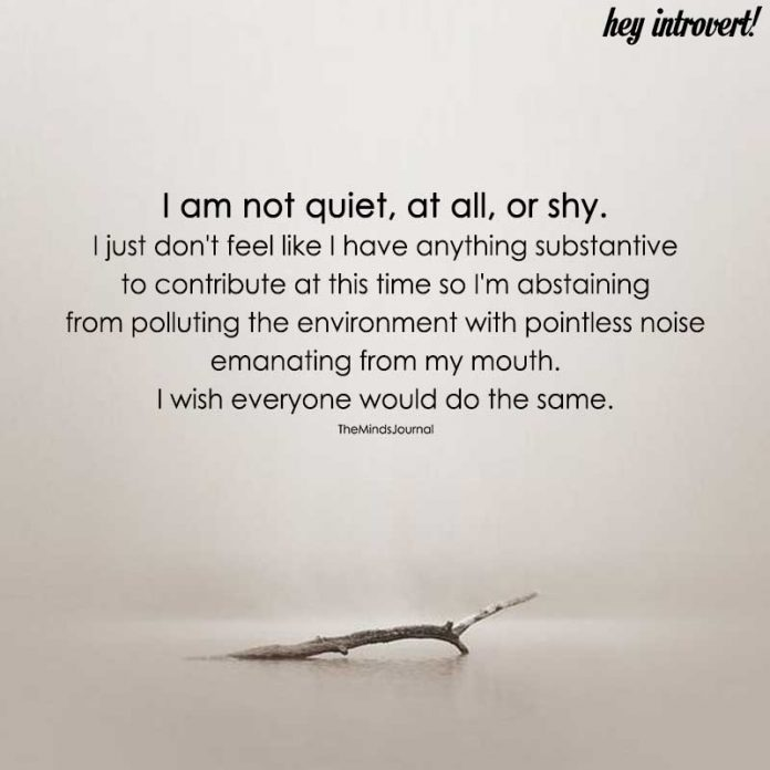 I Am Not Quiet , At All, Or Shy